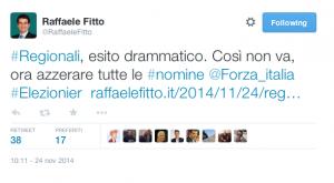 Il messaggio su Twitter di Raffaele Fitto